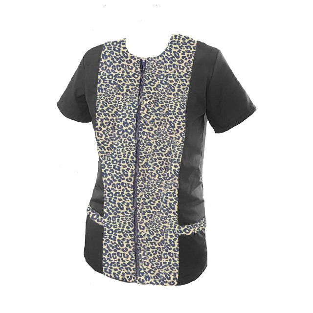 Black Leopard Print Dog Grooming Tunic