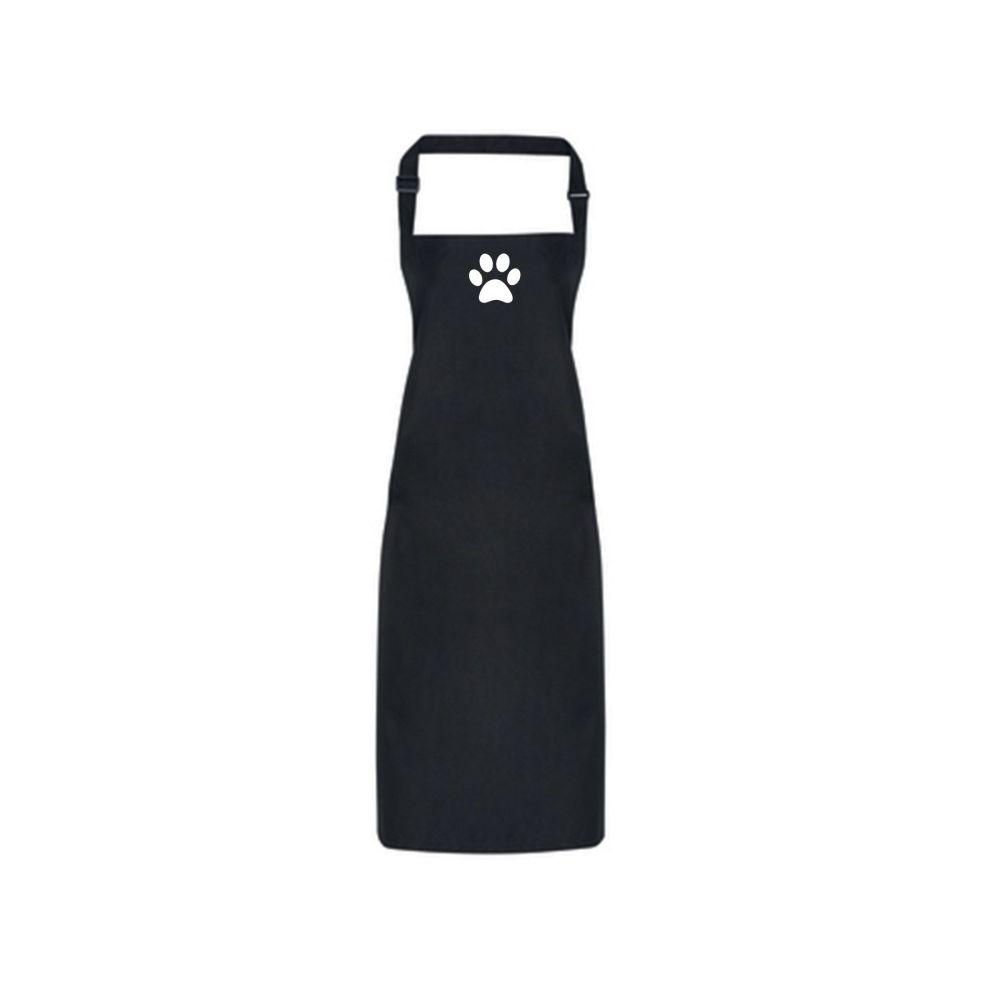 Dog Grooming Waterproof Apron - Black with Paw Print