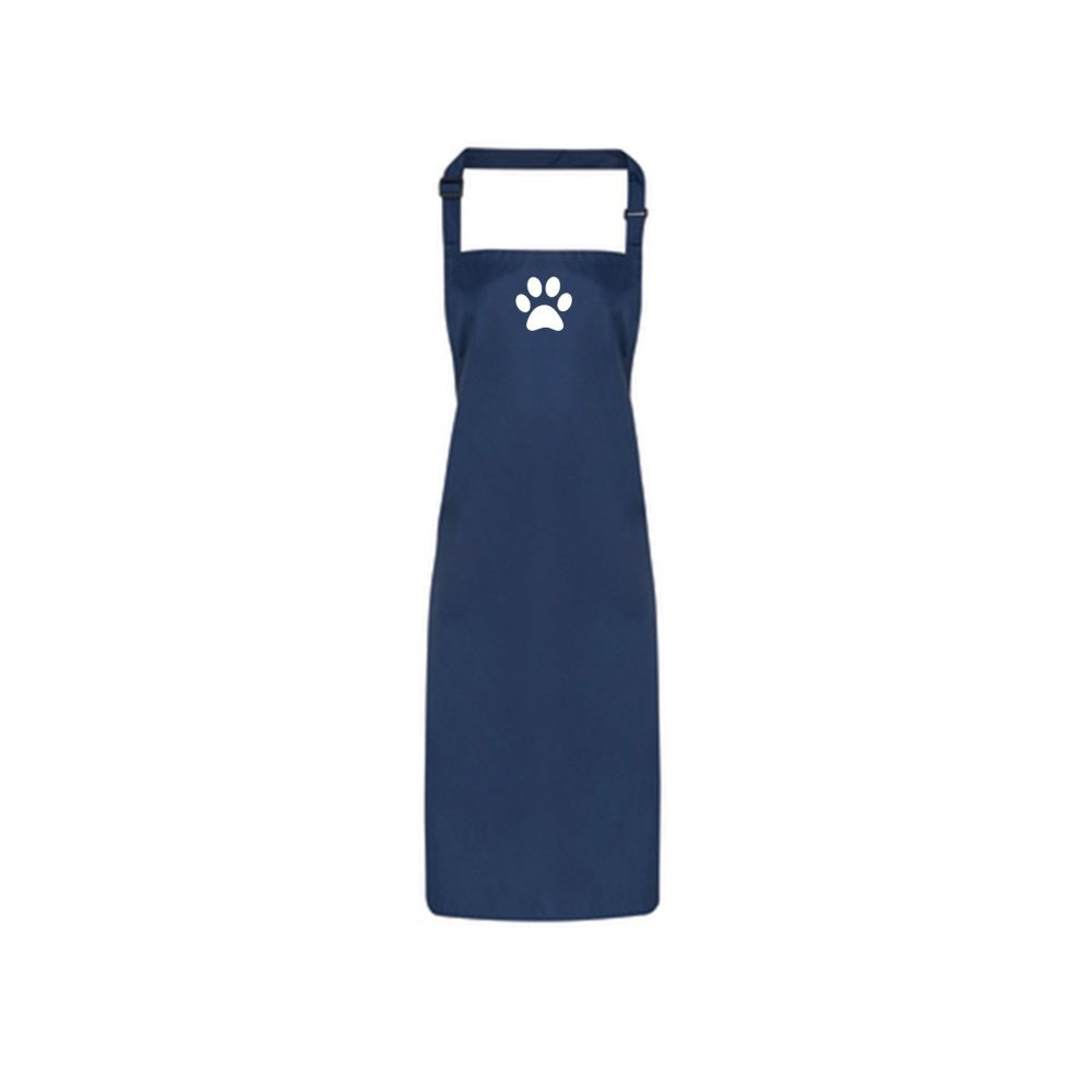 Dog Grooming Waterproof Apron - Navy with Paw Print