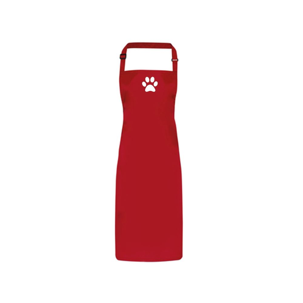 Dog Grooming Waterproof Apron - Red with Paw Print