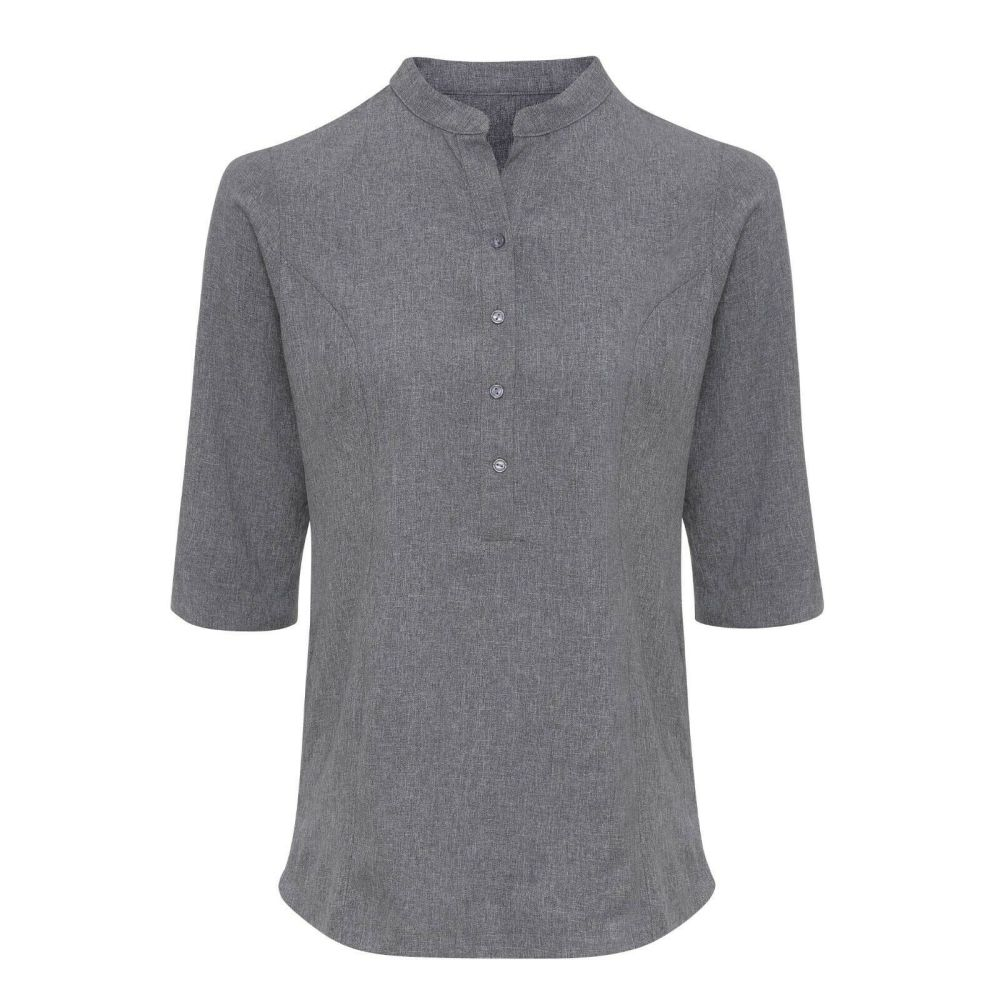 Hair Resistant Linen Look Shirt - Heather Grey