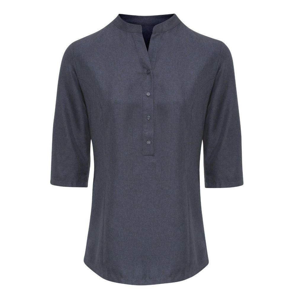 Hair Resistant Linen Look Shirt - Heather Black