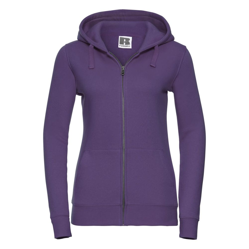 Women's 100% Cotton Zipped Hoodie - Purple