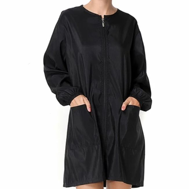 Waterproof & Hair Resistant Dog Grooming Long Sleeve Tunic - Black