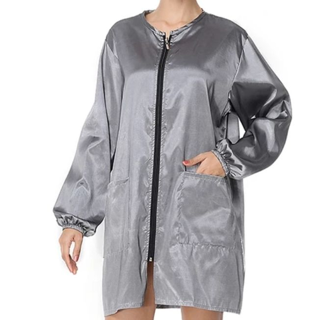Waterproof & Hair Resistant Dog Grooming Long Sleeves Tunic - Silver