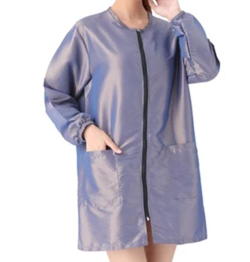 Waterproof & Hair Resistant Dog Grooming Long Sleeves Tunic - Pearlescent Silver