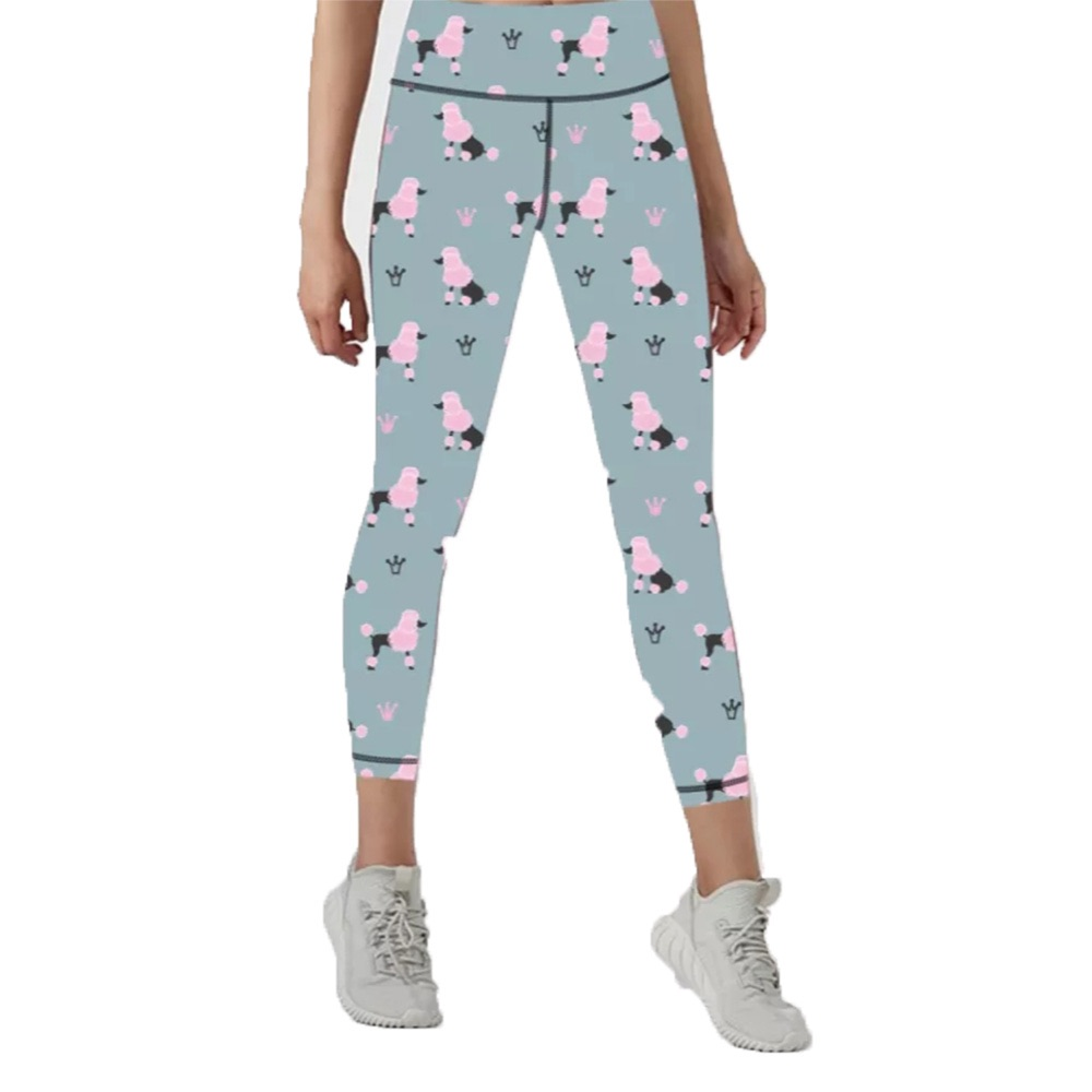 CAPRI - Patterned Women's Hair Resistant Leggings - Blue with Pink Poodles