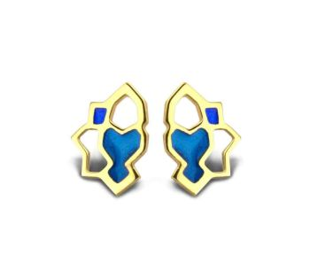 Stud Earrings. Gold Plate with Blue Enamel.  Item MH002
