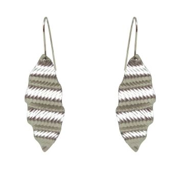 Silver 'ripple' pendant earrings.  Item EM06