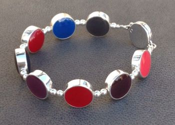 Silver Multicolour Reversible Links Bracelet.   Item SF004