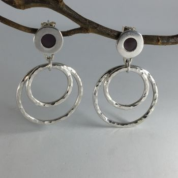 Hammered Finish Silver Stud Earrings. Item SF007