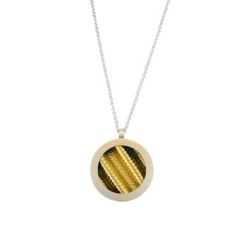 Large 'porthole' gold plate necklace.  Item EM17