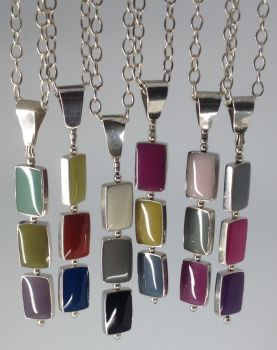Silver Triple Pendant. Choice Of Colours.  Item SF005