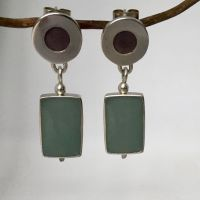 Silver Earrings. Reversible Two Colour Drops.   Item SF017