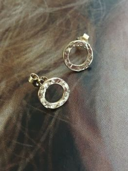 Yellow, White, Or Rose Gold 'Dot' Earrings.  Item DS009