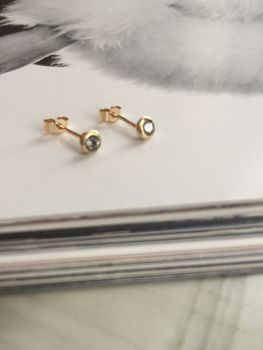 Gold And Diamond Bezel Earrings.  Item DS021