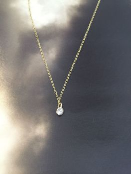 Gold And Diamond Bezel Necklace.  Item DS022
