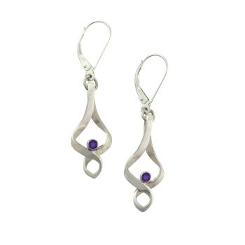Vintage 'wave' Amethyst Earrings.  Item EM48A