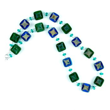 Blue Green Czech Glass Squares Necklace.  Item RH001