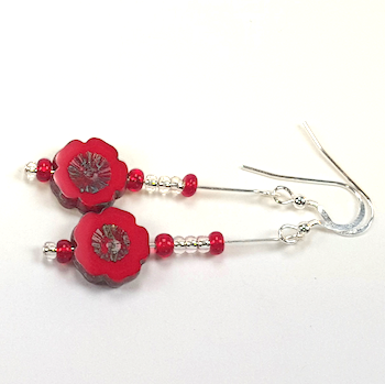 Red Cut Flower  Czech Glass Earrings.  Item RH003