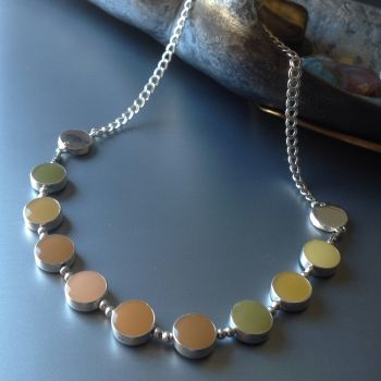 Silver Necklace. Reversible Two Enamel Colour rRund Links.   Item SF002