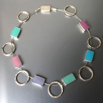 Silver and Enamel Hoop and Link Necklace.  Item SF013