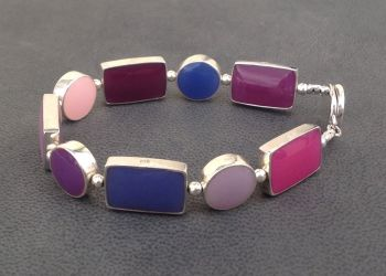 Silver Multicolour Reversible Links Bracelet.   Item SF006