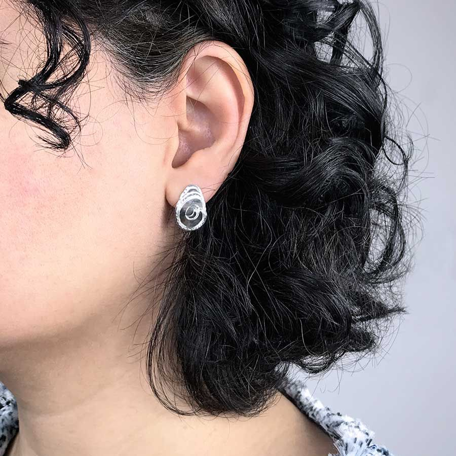 'One of a kind' silver stud earrings.  Item MH017
