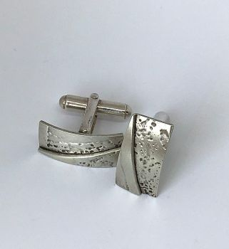 Rectangular Etched Silver Cufflinks .  Item ECT004