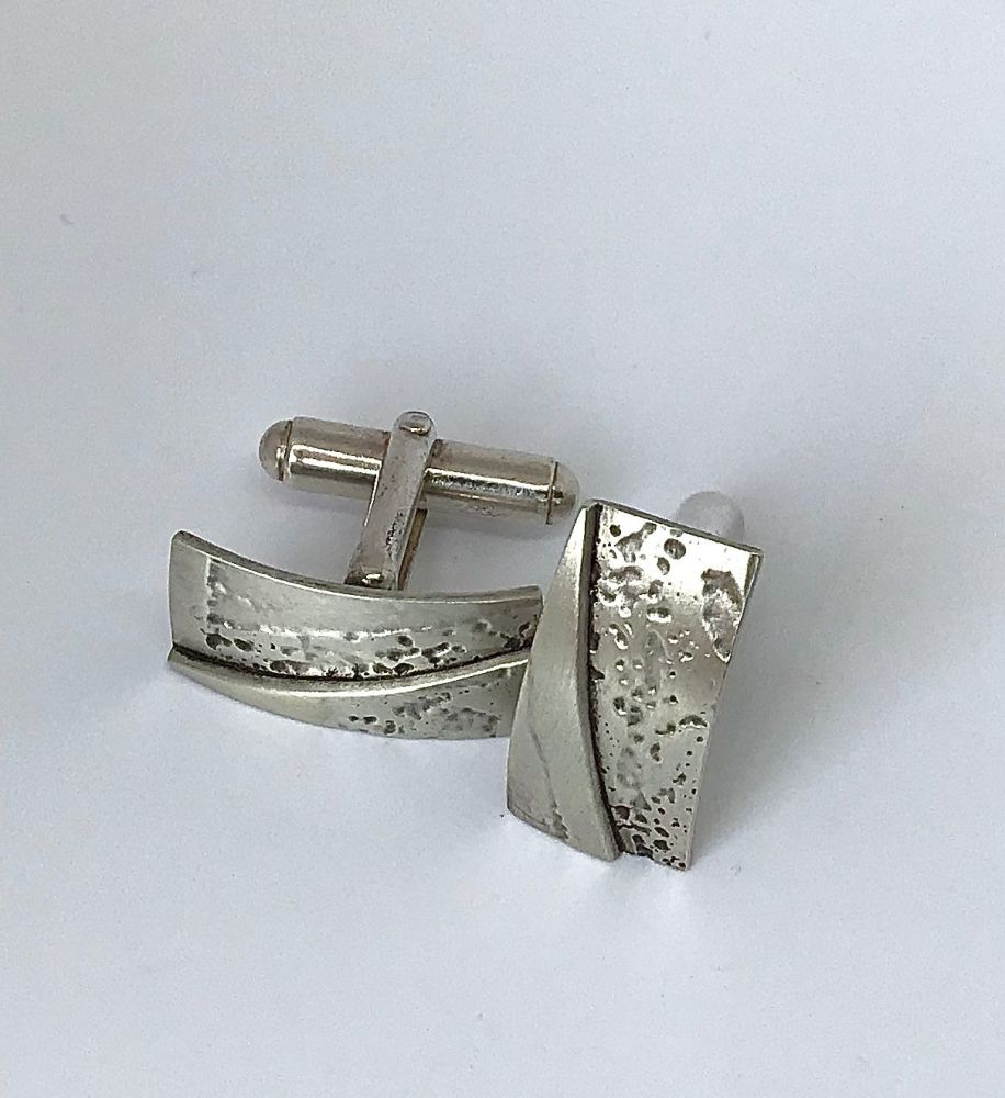 Etched Silver Cufflinks.  EVT 004