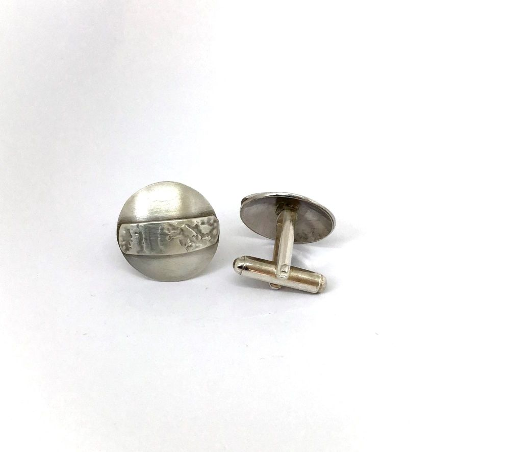 Etched Silver Cufflinks.  EVT007