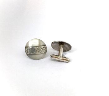 Round Etched Matt Silver Cufflinks.  Item ECT014