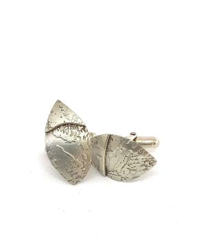 Silver Leaf Shaped Cufflinks.  Item ECT007