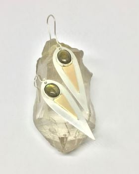 Gold, Silver and Labradorite Drop Earrings.  Item ECT010