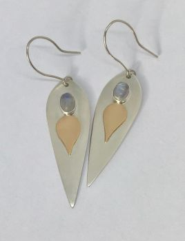 Gold, Silver And Moonstone Earrings.  Item ECT011