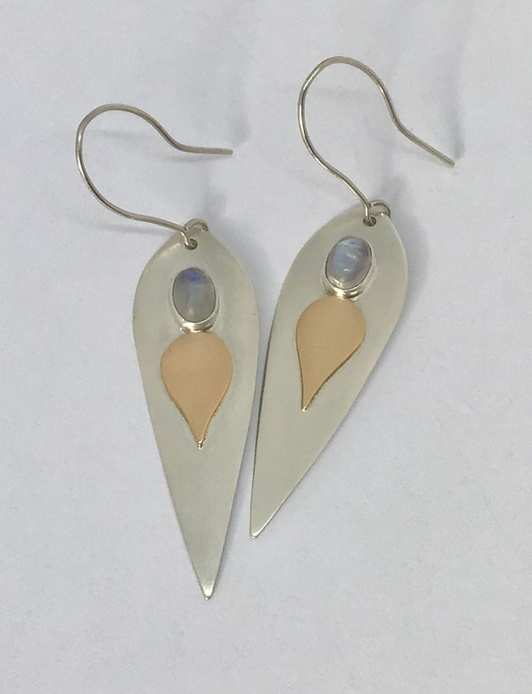 Gold, Silver and moonstone earrings.  EVT011