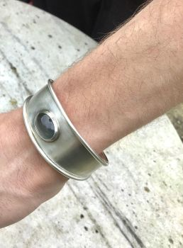 Silver Cuff With Aquamarine Stone.   Item ECT009
