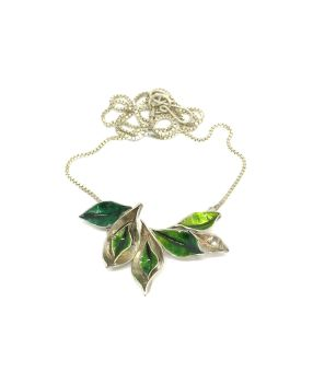 Silver And Green Enamel Leaf Necklace.   Item ECT019