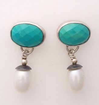 Silver , Turquoise And Pearl Earrings.  Item KG006