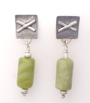 Silver And  Olive Agate Earrings.  Item KG007