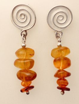 Silver And Amber Earrings.  Item KG008