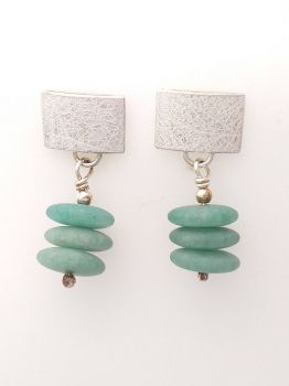 Silver And Green Avanturin Earrings.  KG010