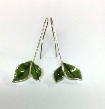 Silver Peridot Enamel Twin Green Leaf Earrings.  Item ECT036