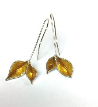 Silver And  Yellow Enamel Earrings.  ECT033