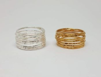 Skinny Silver or Gold Plated Coil Rings.  Item EL001