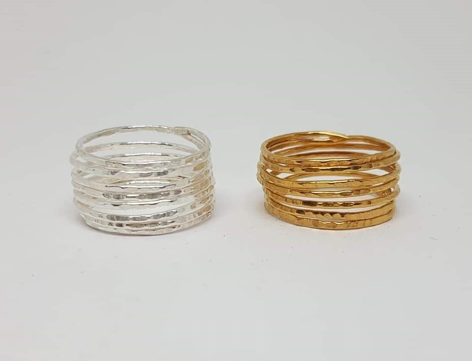 Skinny gold or silver coil rings