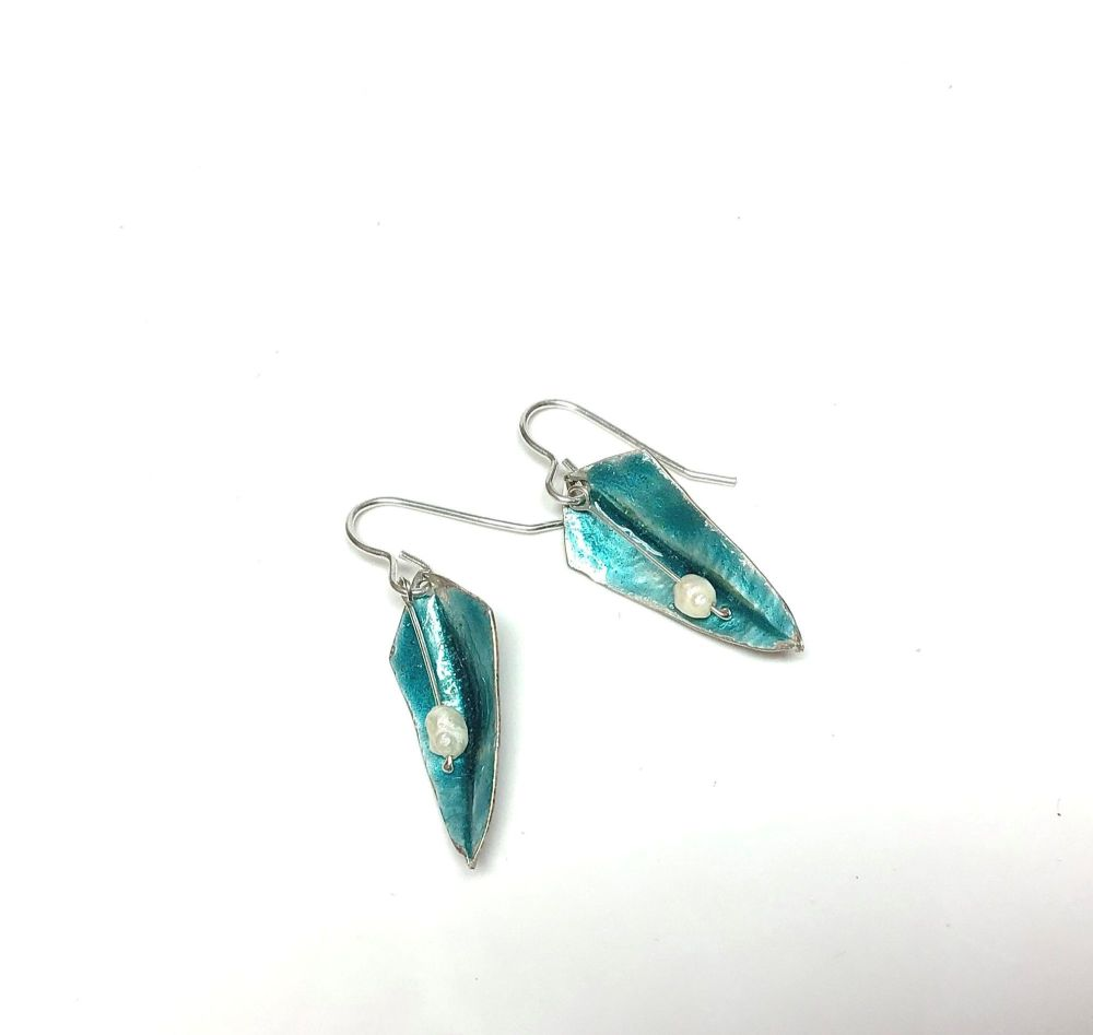 Pale turquoise silver and enamel earrings. ECT030