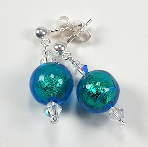 Aqua/blue Murano glass post earrings.  Item RH011