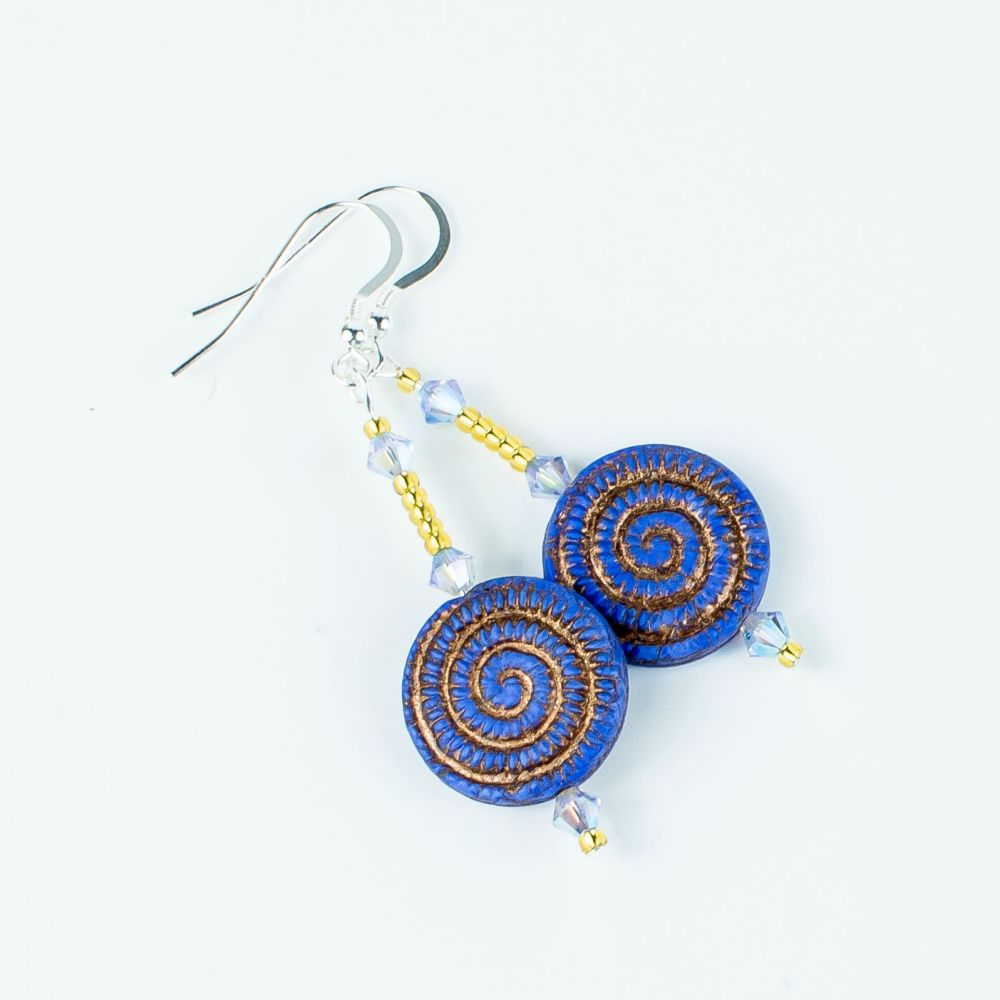 Blue/Golden swirls hook earrings. Item RH014