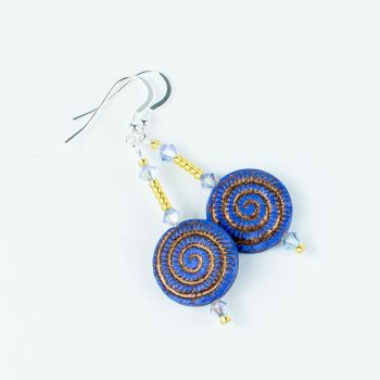 Blue/Golden Czech Glass swirls Earrings. Item RH014